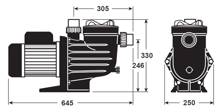 Davey PMECO Pump Dimensions Diagram