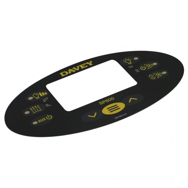 Davey Spa Power SP800 Control Touchpad Decal Q616013-1 Angle