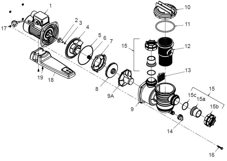 Onga LTP Pool Pump Parts Diagram