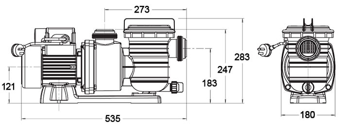 Onga Leisuretime LTP Pool Pump Dimensions