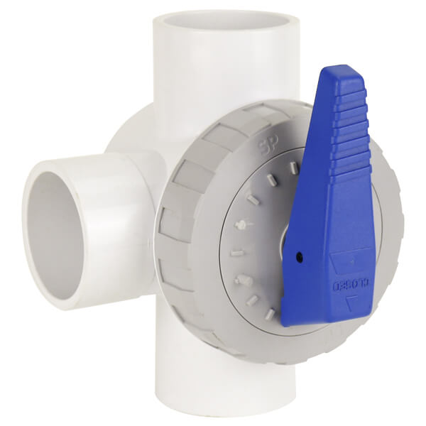 PVC 3 Way Valve 40mm Blue Handle Side Angle