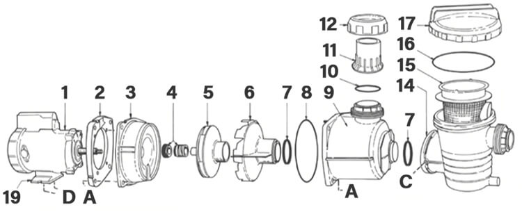 Poolrite Enduro EP Pool Pump Parts Diagram