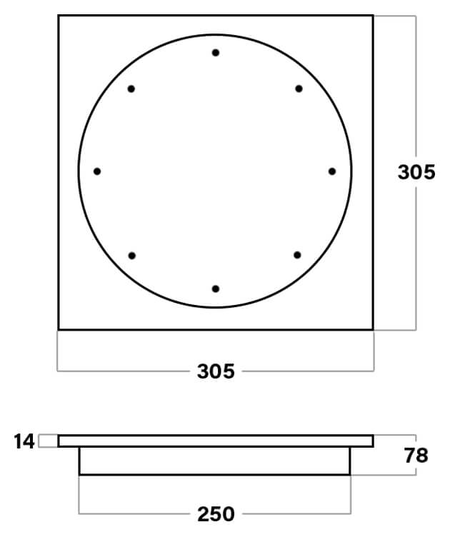 Poolrite S2500 Square Skimmer Box Deck Lid Dimensions