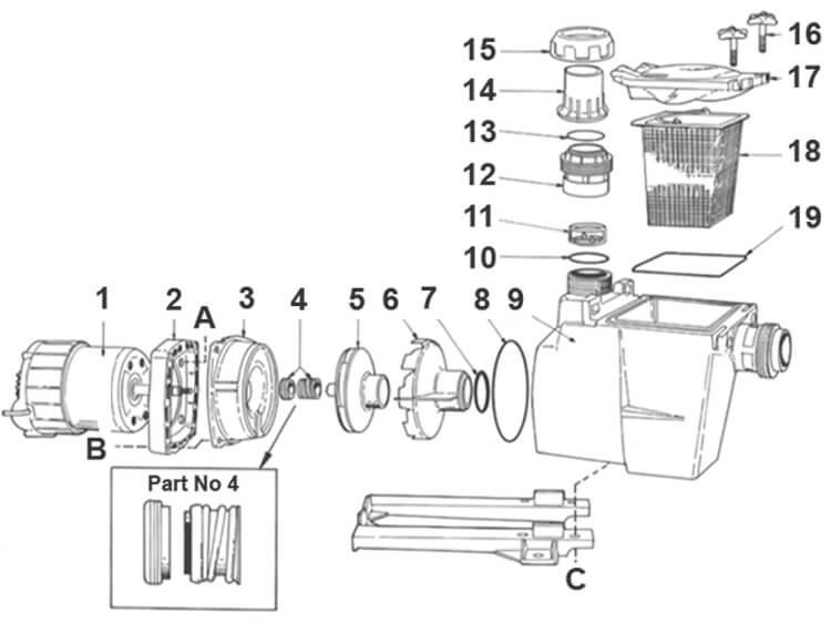 Poolrite SQI PM Pool Pump Parts Diagram