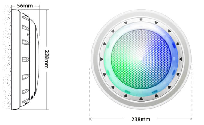 Spa Electrics GKRX Tri LED Pool Light Dimensions