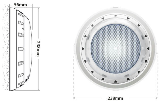 Spa Electrics GKRX White LED Pool Light Dimensions