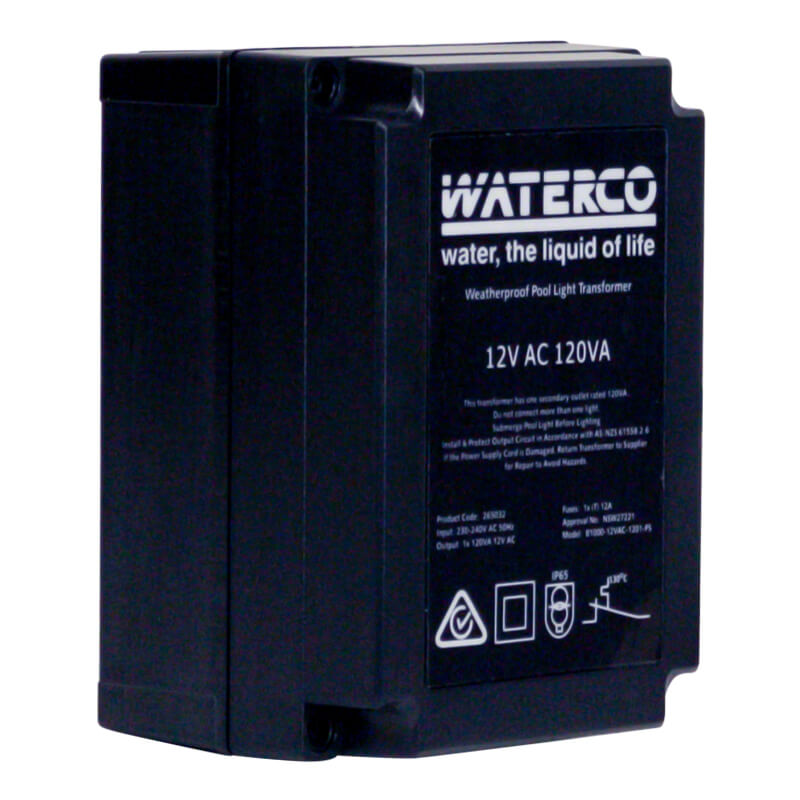 Waterco Halogen Underwater Pool Light Transformer 12v 100w Side