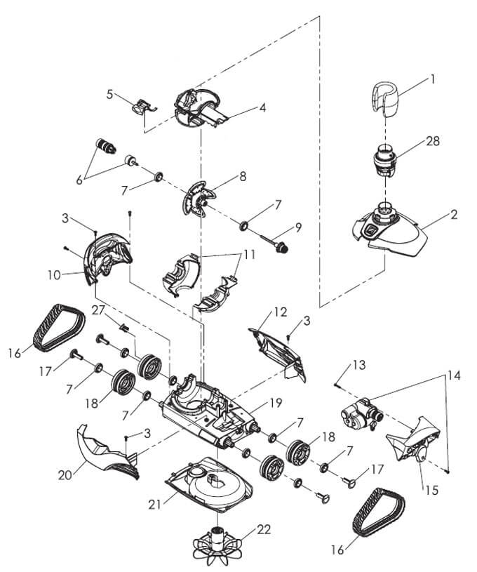 Zodiac mx6 chassis assembly 30024100 poolequip zodiac baracuda mx6 parts diagram ccuart