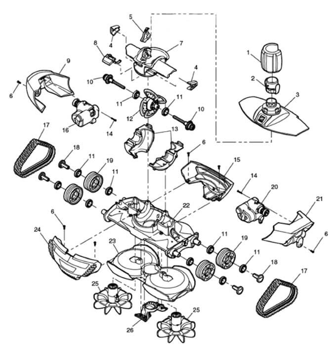 Zodiac mx8 middle engine housing 30021500 poolequip zodiac baracuda mx8 parts diagram ccuart