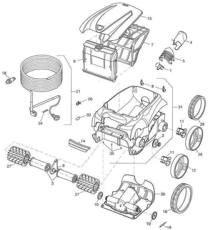 zodiac v4 vx55 robotic motor block r0638100 • poolequip zodiac vx40 vx50 vx55 v3 v4 robotic cleaner parts diagram